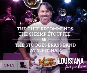 The chef recommends the white shrimp and blue crab étouffée and the Stooges Brass Band at Tipitina's