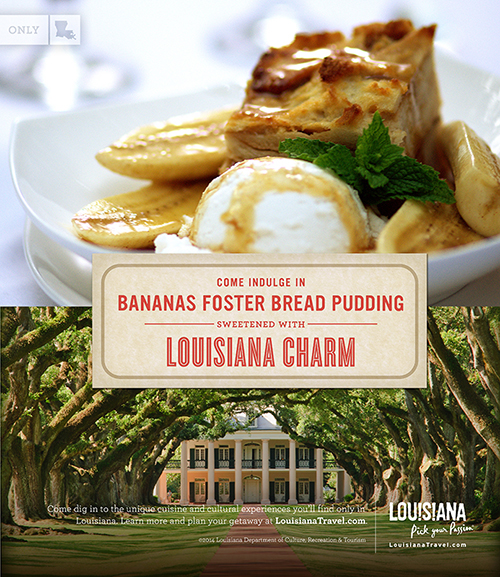 Come indulge in bananas foster bread pudding sweetend with Louisiana charm.